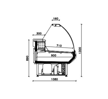 Vitrine réfrigérée service arrière +2°C/+5°C de 1500 à 2580 mm de long
