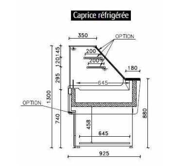 Vitrine Réfrigérée 0/+2°C avec Groupe Logé pour Pâtisseries/ Sandwich - SEDA CAPRICE