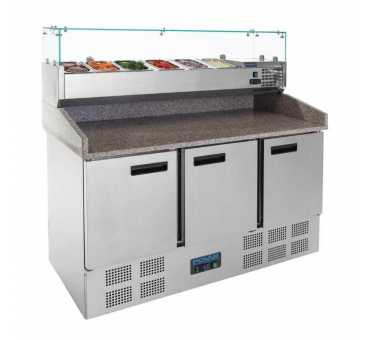 POLAR - Comptoir de préparation pizza et salade réfrigéré 3 portes 368L - CN267