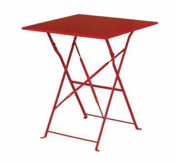 BOLERO - Table de terrasse carrée en acier rouge 600mm - GK986