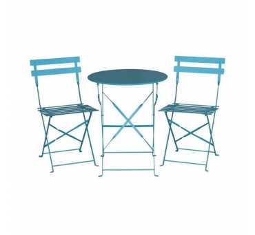BOLERO - Table de terrasse ronde en acier bleu turquoise 595mm - GK983