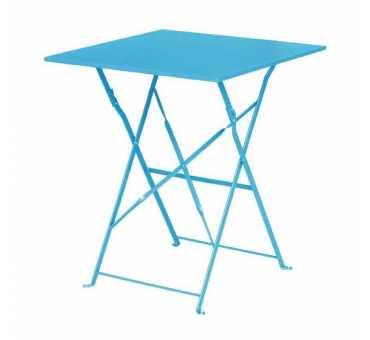 BOLERO - Table de terrasse carrée en acier bleu turquoise 600mm - GK985