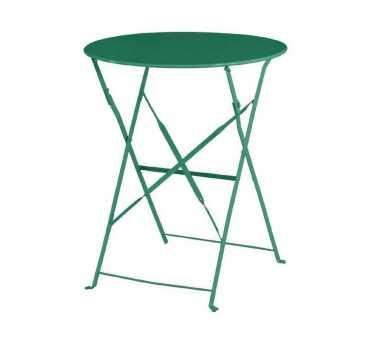BOLERO - Table de terrasse ronde en acier verte 595mm - GK981
