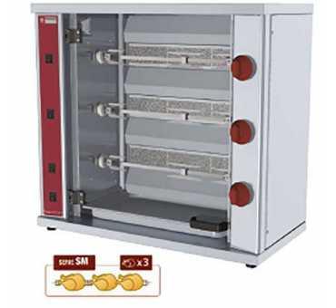 DIAMOND - Rôtissoire gaz compacte pour 9 poulets - RVG/3-SM