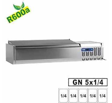 Vitrine à poser réfrigérée Diamond 5x GN 1/4 - 150 mm, avec couvercle inox SX120/CC-R6