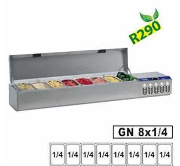 DIAMOND - Saladette réfrigérée à couvercle SX132G/CM - Capacité : 2 x Gn 1/4 + 3 Gn 1/6 + 3 Gn 1/9
