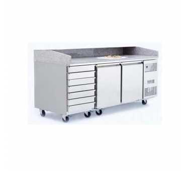 ATOSA - Tables à pizzas 2 portes 600x400 + bloc 7 tiroirs - EPF3480