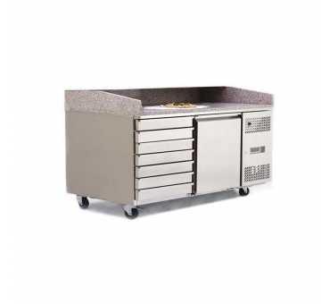 ATOSA - Table à pizzas 1 porte 600x400 + bloc 7 tiroirs - EPF3490