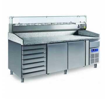 COOL HEAD - Desserte réfrigérée pizza salades 580 L 2 portes + tiroirs - PZ2610