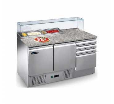 AFINOX - Meuble de préparation réfrigéré positif ventilée +2°/+7°C avec console GN et tiroirs - PRE+