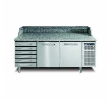 AFINOX - Meuble à pizza réfrigéré positif ventilé +2/+7°C 2 portes 6 tiroirs - PZSPR+821I