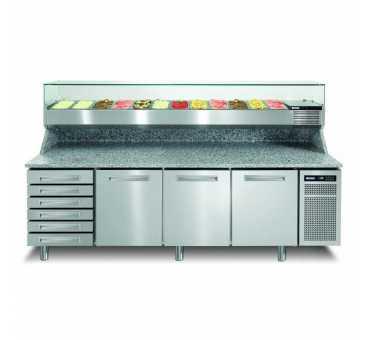 AFINOX - Meuble à pizza réfrigéré positif ventilé +2/+7°C 3 portes 6 tiroirs - PZSPR+831I