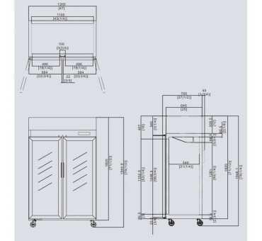 ATOSA - Armoire Positive Inox 2 Portes Vitrées 900 L - YCF9402
