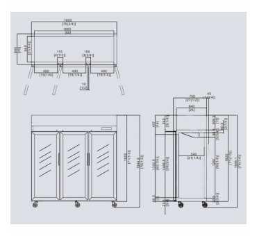 COMEBA - Armoire Positive Inox 3 Portes Vitrées 1390 L - YCF9403