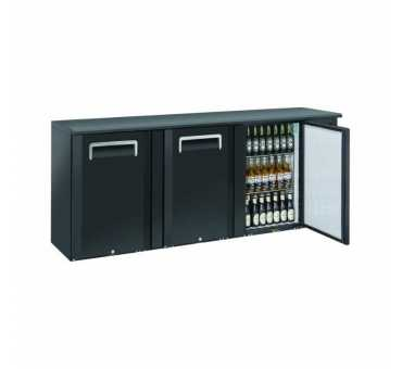 NOSEM - Arrière-bar skinplate série contemporaine intérieur inox 3 portes pleines groupe logé