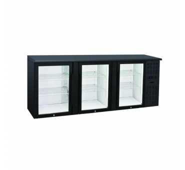 NOSEM - Arrière-bar skinplate série contemporaine intérieur inox 3 portes vitrées groupe logé