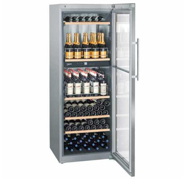 Cave à vins 155 bouteilles carrosserie inox porte vitrée - WTpes 5972 CHR